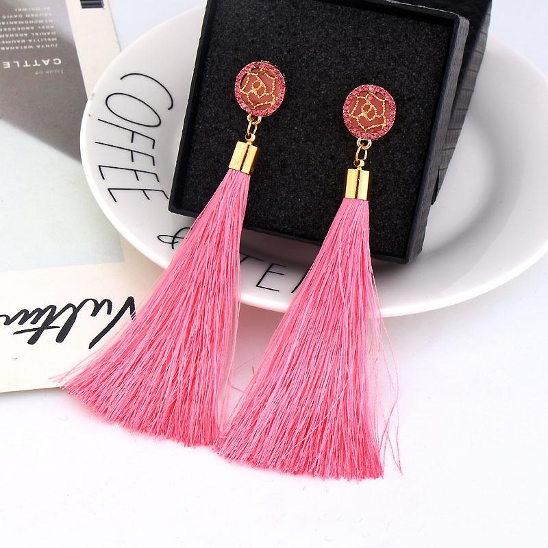 Women Long Tassel Earrings Gold Rose Hollow Out Colorful Fringed Earrings 9 Colors Boho Jewelry Crystal Stud