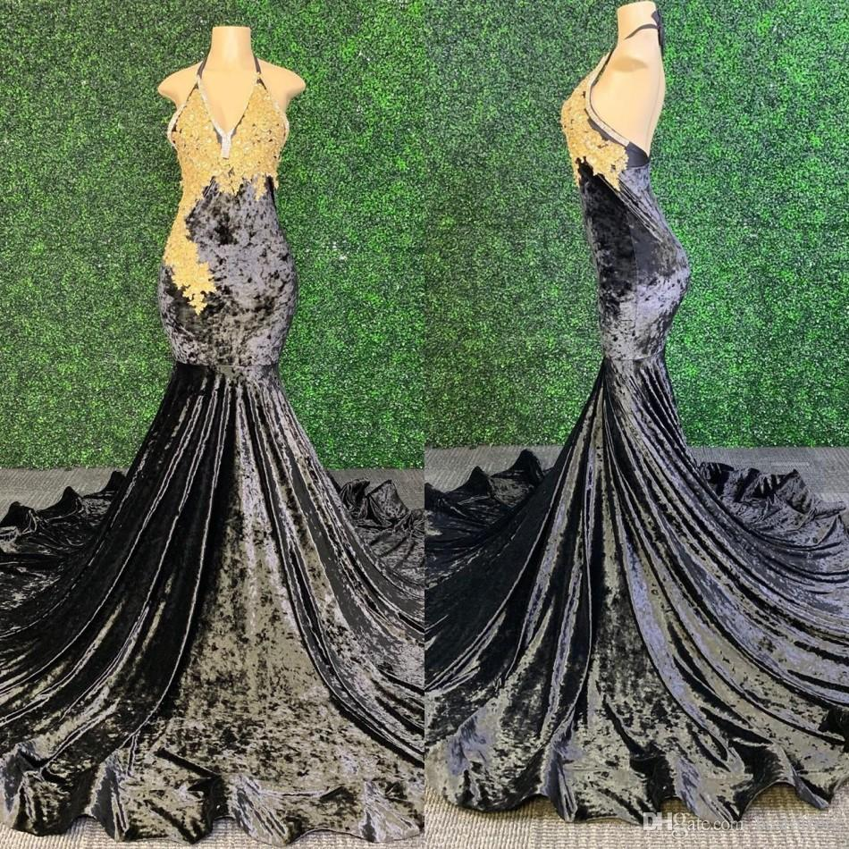 2020 Black Velvet Mermaid Long Prom Dresses Sexy Backless With Gold Appliques High Quality African Black Girl Prom Dress