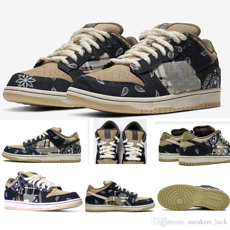 Travis x Scotts SB Dunk low causal shoes Black Parachute Beige Petra Brown Black Athletic Skateboarding sports Trainers Mens shoes