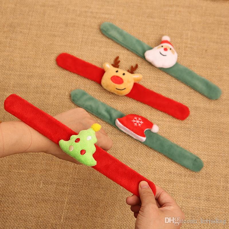 4 стили Рождественская ткань Пощечина браслеты Санта Клаус Лось Рождество шляпа дерево в форме войлока хлопок браслет рождественские праздники подарки аксессуары