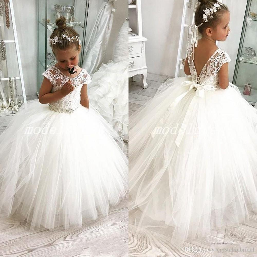 2020 New Cheap Flower Girls Dresses For Weddings Illusion Neck Tulle Crystal Beaded Sashes Open Back Birthday Girl Communion Pageant Gowns Flower