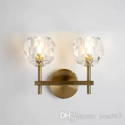 2020 Modern RH K9 Kristal Led Duvar Lambası Işık Yatak Odası Ev Dekorasyonu Aplik Abajur Armatür Ayna Işıklandırma için