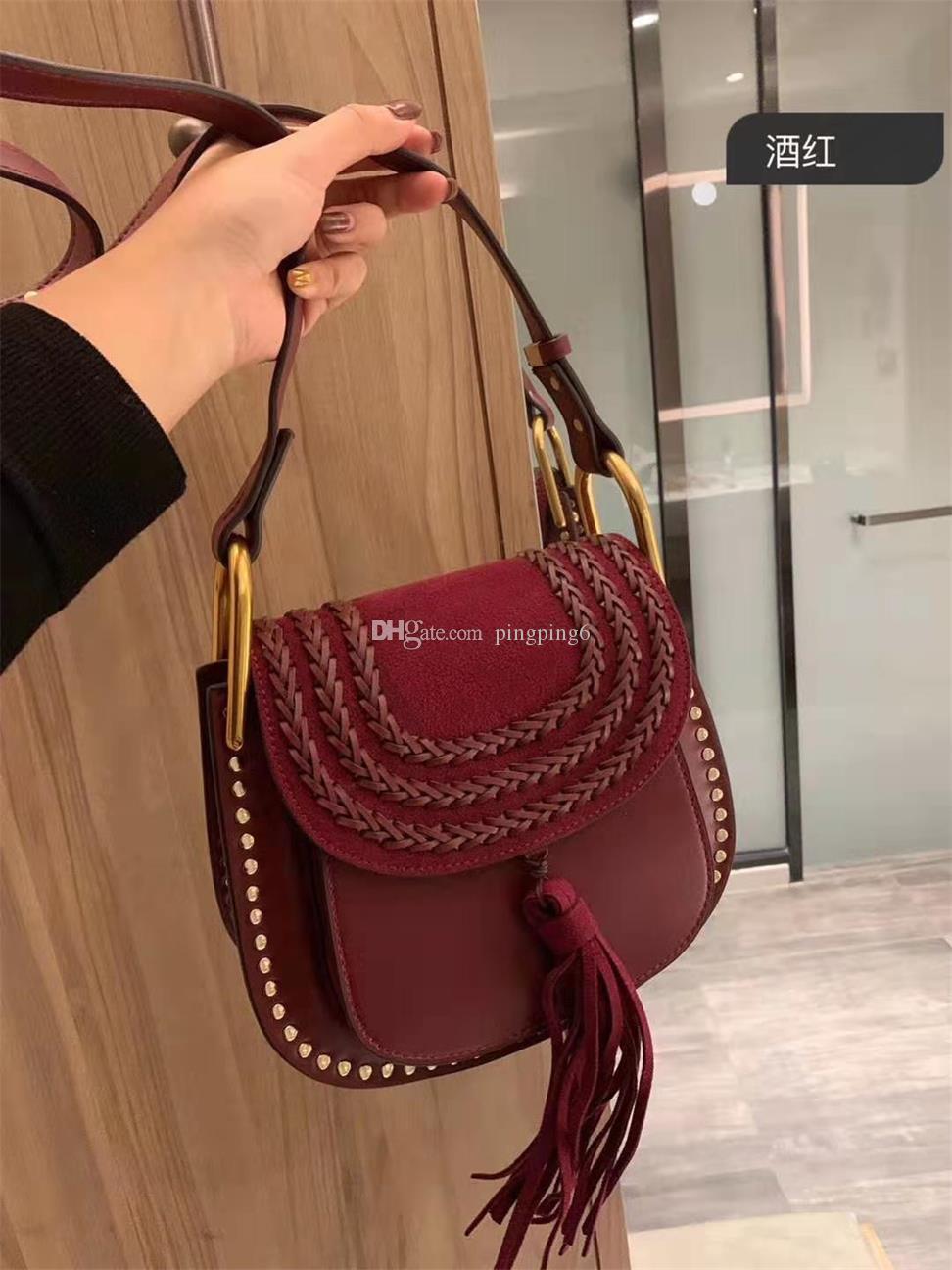 Frauen Original Ysiykiy Niet Handtaschen Tasche Leder Quaste mit Sternen Wildleder Schulter Freeship Mode Casual Bag Axiok