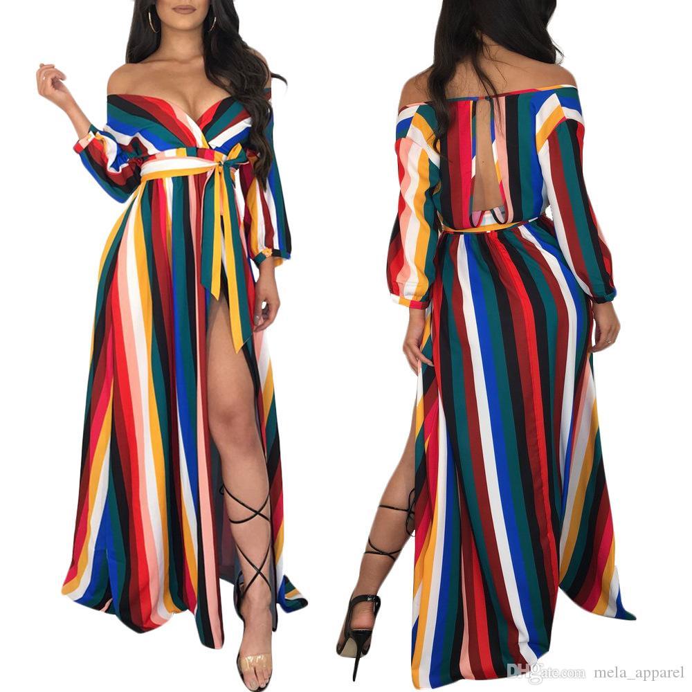 Kadın Kayış V Yaka Gökkuşağı Çizgili V Boyun Uzun Maxi Elbise Seksi Bölünmüş Uzun Kollu Dantel Elbiseler Gece Clubwear Kulübü Oymak Kadın Vestido