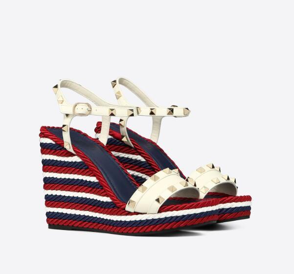 Sandali di modo delle donne Rocks Caged Espadrillas Zeppe Con Rivetti borchie cinturino alla caviglia Stud piattaforma tacchi alti con la scatola, Taglie 35-43