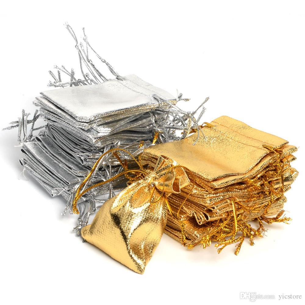 7x9 9x12 10x15 cm 13x18 cm Ayarlanabilir Takı Ambalaj Altın Gümüş Renk İpli Çanta Çekilebilir Organze Çantalar Düğün Hediye Çanta Torbalar