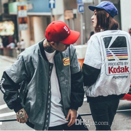 Japon Hip Hop tarzı MA1 bombacı ceket Harajuku pilot sokak baskı kodak Ceketler Erkek Kadın ceket marka Giyim giyim