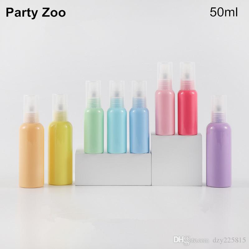 Macaron Series Empty PET Plastic Bottles 50ml/1.76oz Press Pump Cap Refillable Cosmetics Container Sample Bottles Wholesale