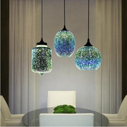 현대 3D 다채로운 북유럽 별이 빛나는 하늘에 매달려 유리 그늘 펜던트 램프 조명 E27 LED 부엌 식당 거실