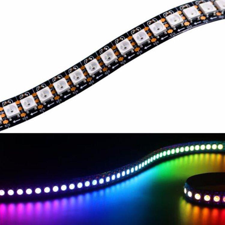 WS2812B 개별적으로 주소 유연한 LED 스트립 드림 컬러 IP30 / IP65 실리콘 코팅 방수 DC5V 화이트 / 블랙 PCB