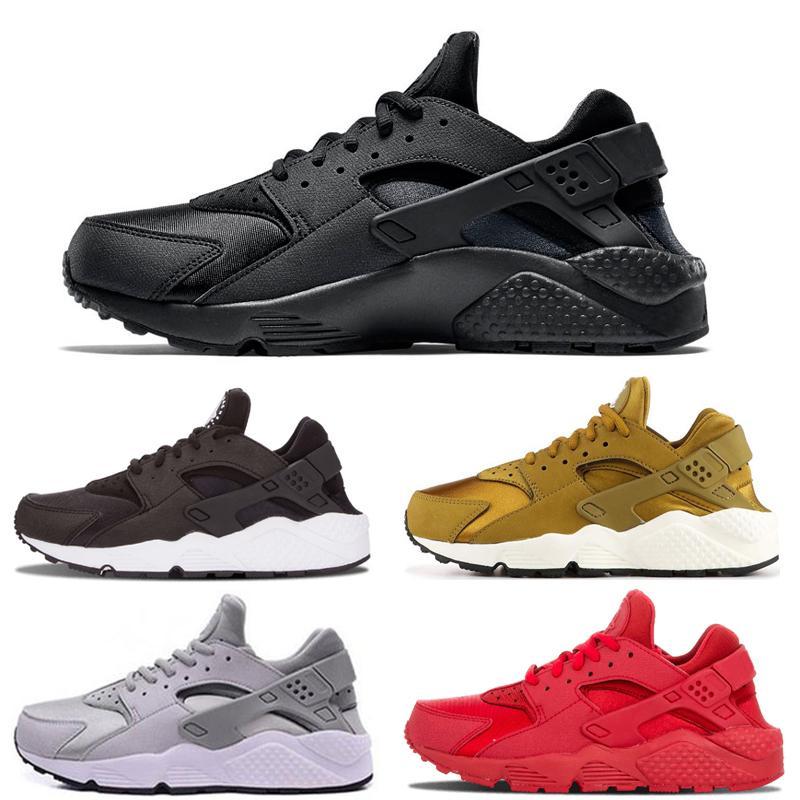 Nike air huarache 1 Triple Blanco Negro Huarache de los zapatos corrientes clásicas de los hombres rojos de las mujeres calza huaraches Huarache línea Trainer