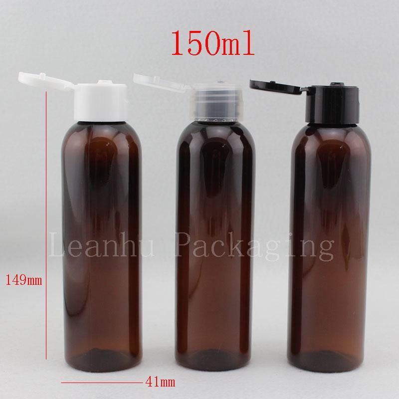 150cc conteneurs Organisateur, 100 ml ablatent casquette Flip top bouteille rechargeable bouteilles brun petite bouteille vide, 40pc / lot,