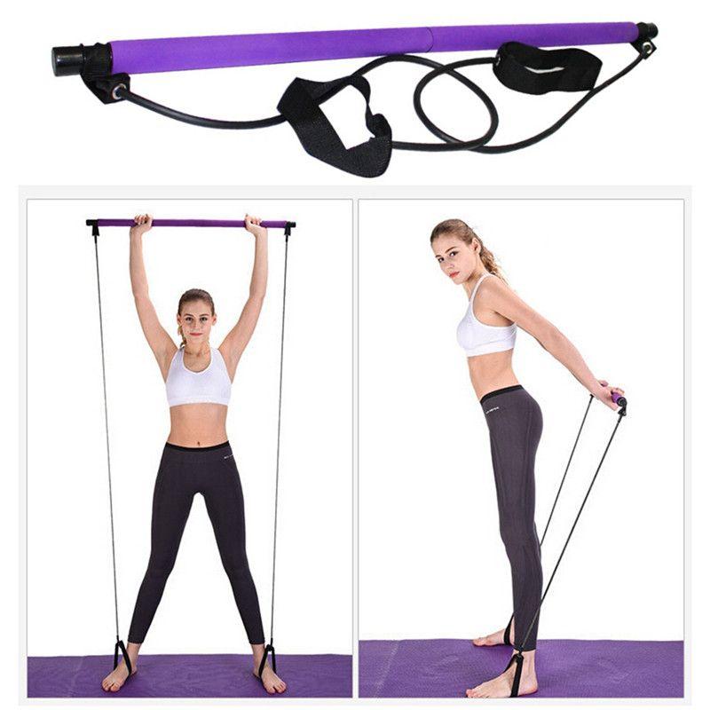 Yoga Pilates bâton Fitness fitness Body Body Workout Résistance abdominale bandes corde Extracteur culturisme Pilates Bar élastique Ba