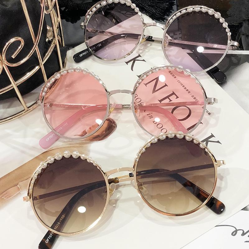MINCL / 2018 고품질 선글라스 여자 라운드 진주 패션 태양 안경 디자인 UC400-gyw