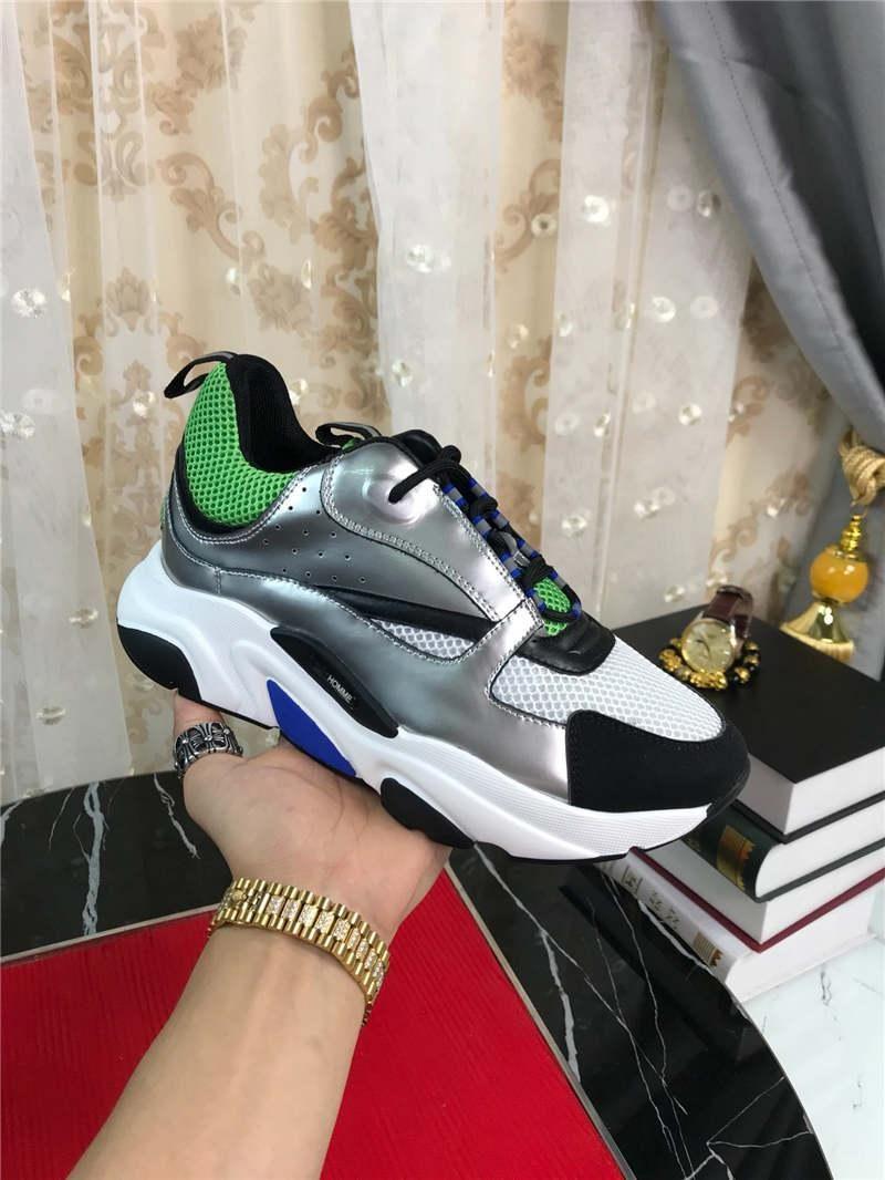 Knit 2019DR HOMME B22 riflettente Sneakers Silver Green Sneaker in pelle di vitello tecnico Trainer Sneakers con la scatola originale