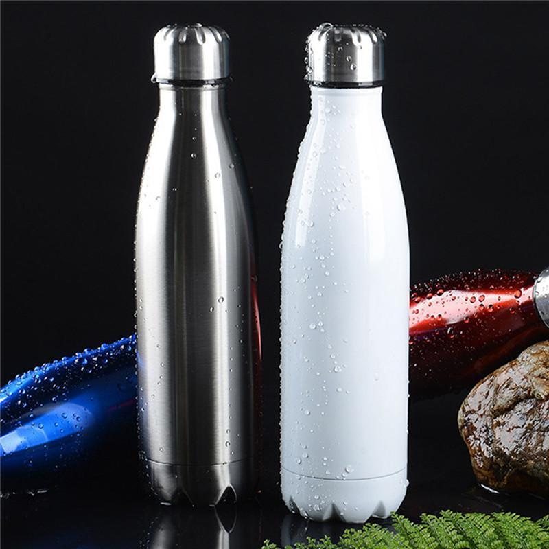 100pcs Toptan kola şeklindeki şişe kola su şişesi Yaz Promosyonu 17oz / 500ml Cola Şeklinde Su Şişesi 304 Paslanmaz Çelik