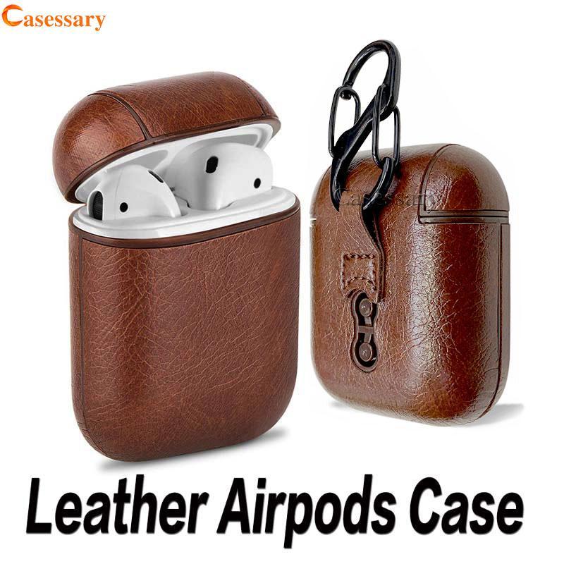 Caso Airpods couro para Apple Airpods Protector Capa Moda Anti Perdido gancho Fecho Keychain Retail Package DHL Shipping