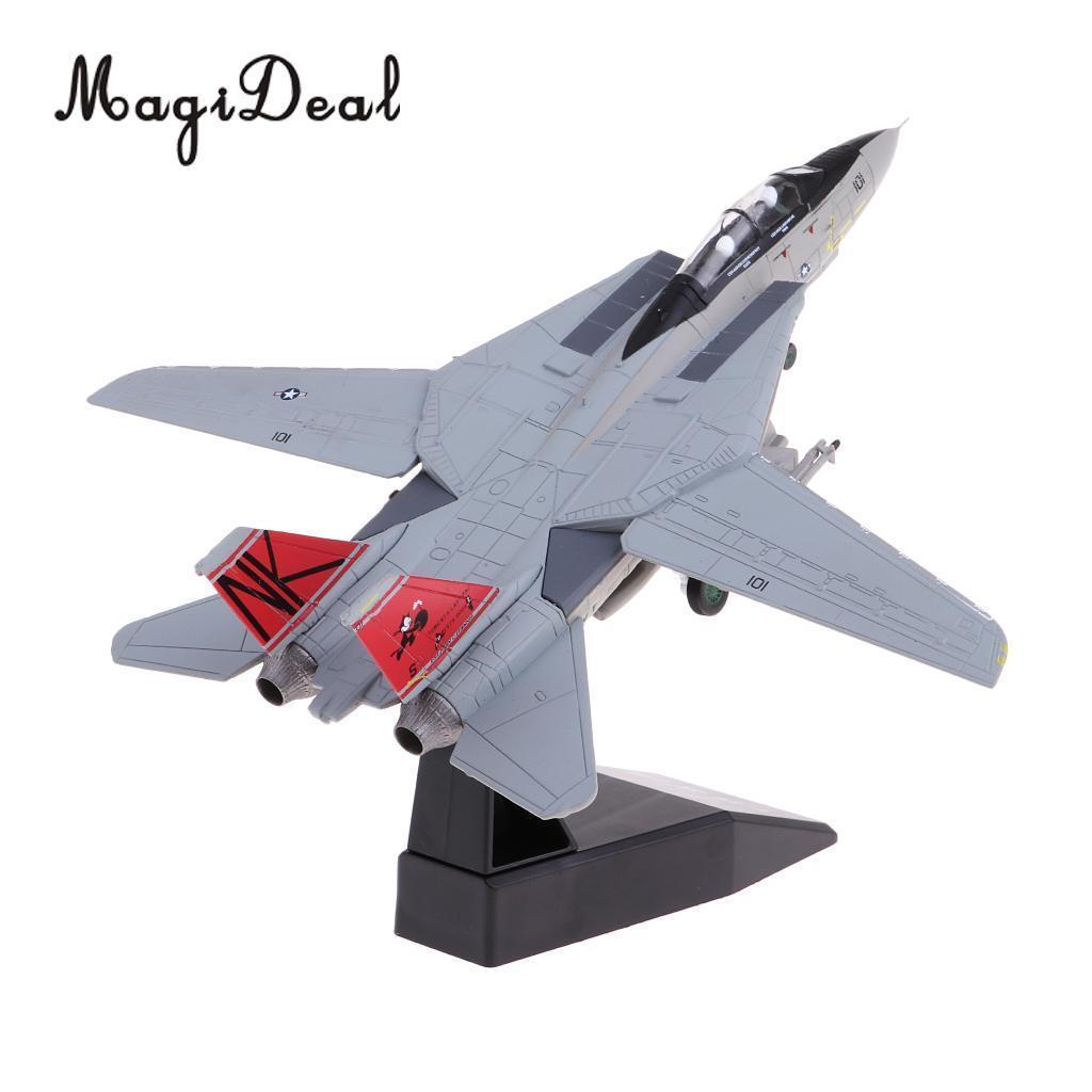 MagiDeal 1: 100 Escala de aleación estadounidense F-14 avión avión de combate modelo de juguete Diecast modelo de avión de juguete Decoración Coleccionismo Y200428