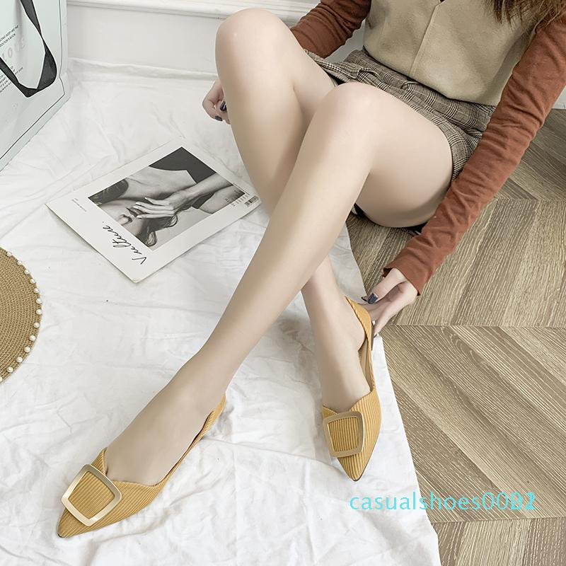 Sivri Burun Düz Ayakkabı Kadınlar Stretch Kumaş Sığ Tek Ayakkabılar 2020 Günlük Loafers Kayma-on Flats Kadınlar Metal Düğmeler C22 ile