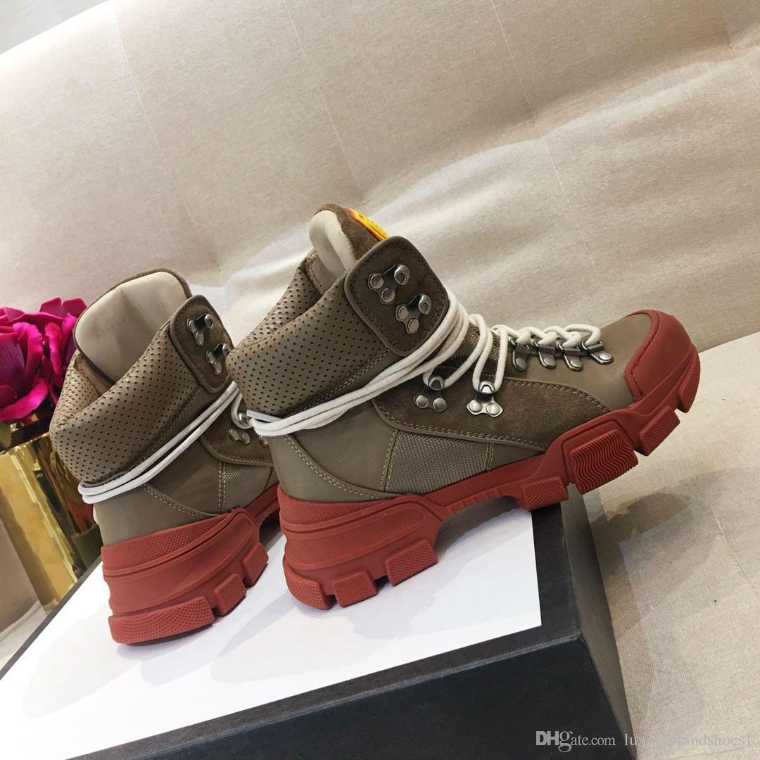 2018 de lujo de goma diseñador del logotipo de cuero marrón FlashTrek zapatilla de deporte de las mujeres zapatillas de deporte botas de la zapatilla de lona de las mujeres técnicas zapatos para caminar