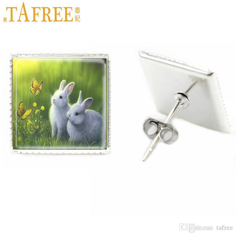 TAFREE new novelty glass square stud earrings women silver plated cute horse rabbit stud earrings fashion jewelry E96