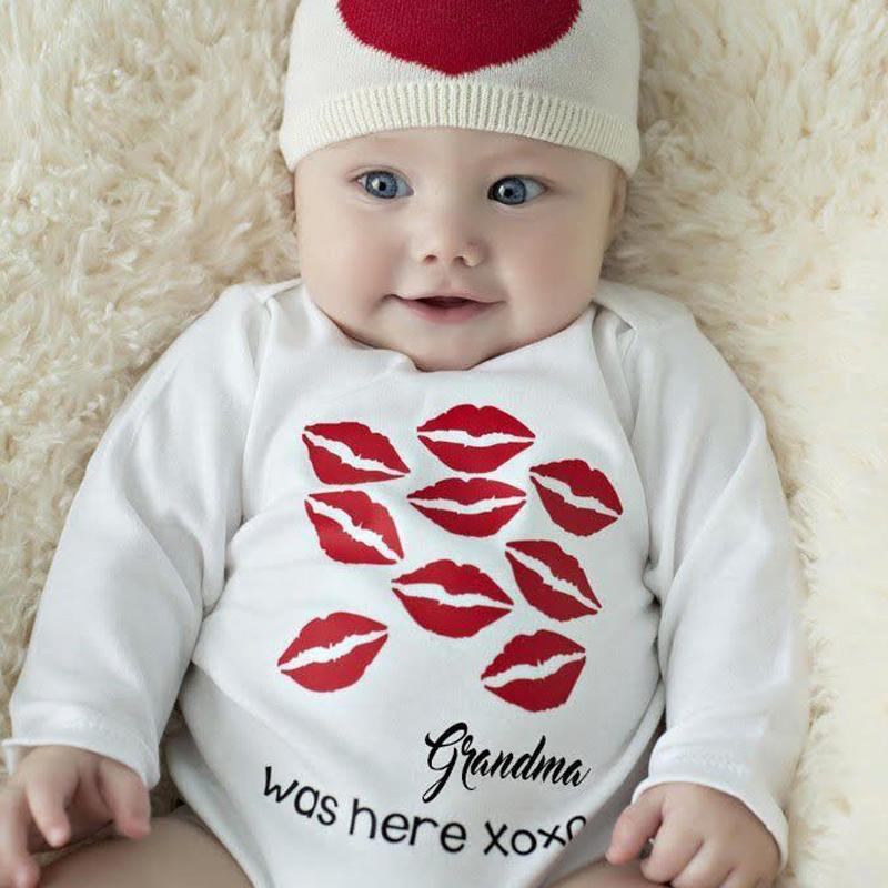 Yeni Varış Bebek Bodysuit Pamuk Yenidoğan Bebek Erkek Bebek Kız Bodysuit Uzun Kollu Kırmızı Ağız Öpücük Giyim Kıyafetler
