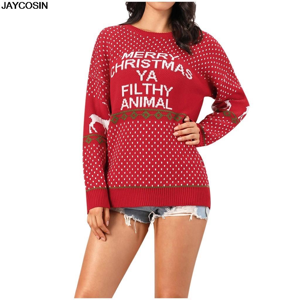 новые свитера Красный Рождество письмо Снежинка Рождество узорчатый половина водолазка вязаный пуловер женщины с длинным рукавом зима теплая перемычка