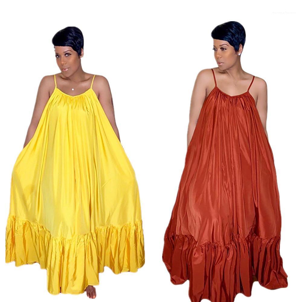 Solid Color drapeado mangas Backless Vestidos Sexy Casual Senhoras Maxi Vestidos mulheres Verão Spaghetti Strap Dresses