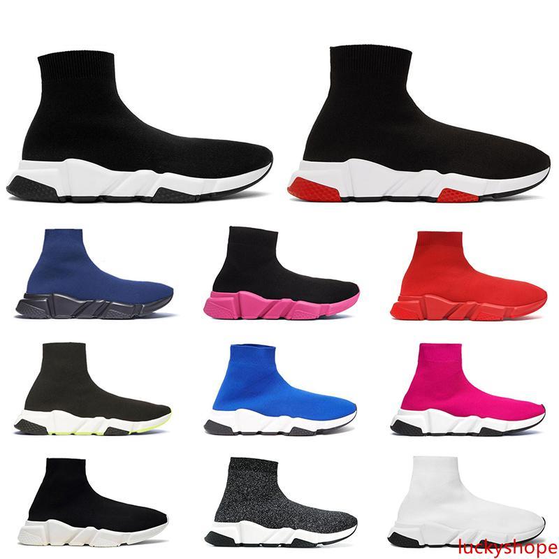 2020 erkekler kadınlar tasarımcının çorap ayakkabı hız eğitmen üçlü siyah beyaz parıltı pembe mavi moda lüks erkek eğitmenler gündelik kanvas ayakkabılar