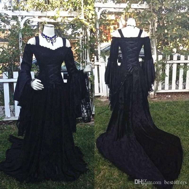 Gothic Style Sleeping Beauty Black Wedding Dresses Off Shoulder Long Puffy Sleeves Lace Corset Bodice Wedding Bridal Gowns Custom Plus Size