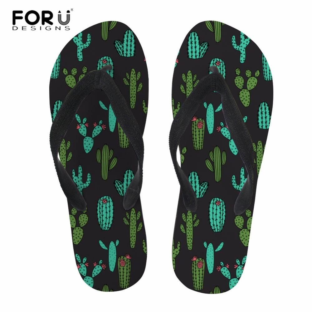 FORUDESIGNS Women Slippers Personality Cactus Prints Female Slip-on Bathroom Flipflops Lady Soft Rubber Sandals zapatillas mujer