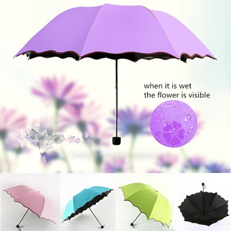 Pieghevole Ombrelli per a prova di Ultraviolet donne antivento protezione solare Flower Magic Dome Parasol Sun dell'ombrello della pioggia ingranaggio della pioggia