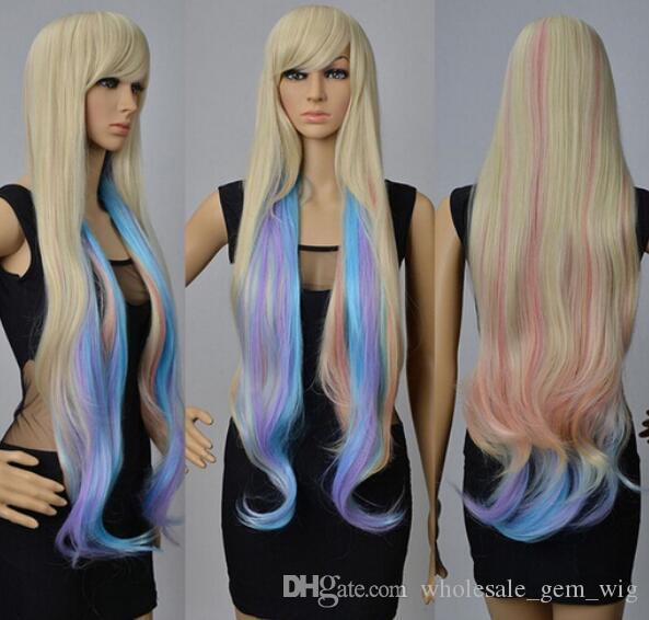 ÜCRETSIZ KARGO + + 90 cm Uzun Bayan Dalgalı Çok ColorsHair Kostüm Peruk Cosplay Parti Tam Peruk