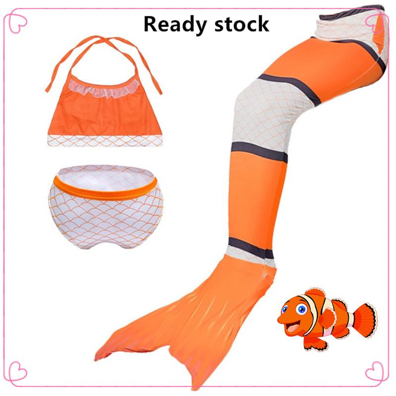 Free shipping Cute Cartoon Girl's Mermaid tail costumes swimsuit set Summer beachwear with swimming fins