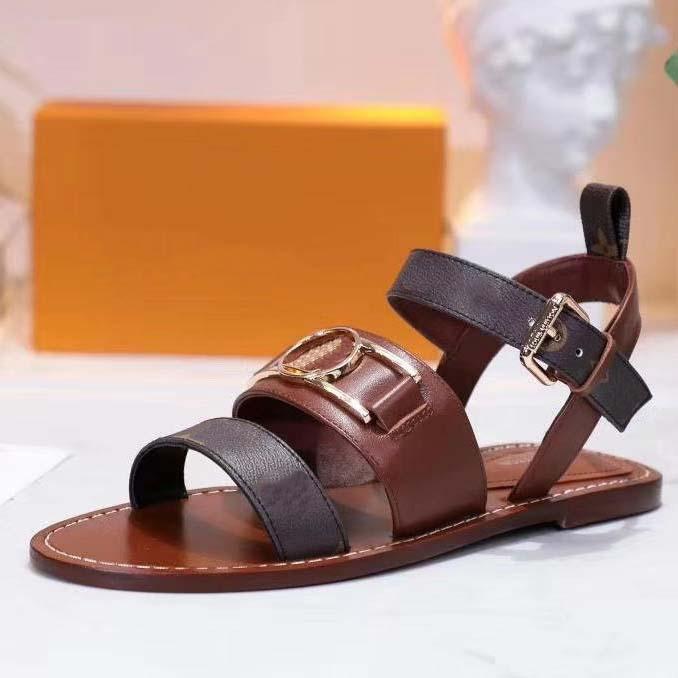 New Top Fashion sandálias de couro de luxo Designer Womens Suede Classics Fashion Shoes Deslize Sandálias Sapato Sapatos shoe001store L09