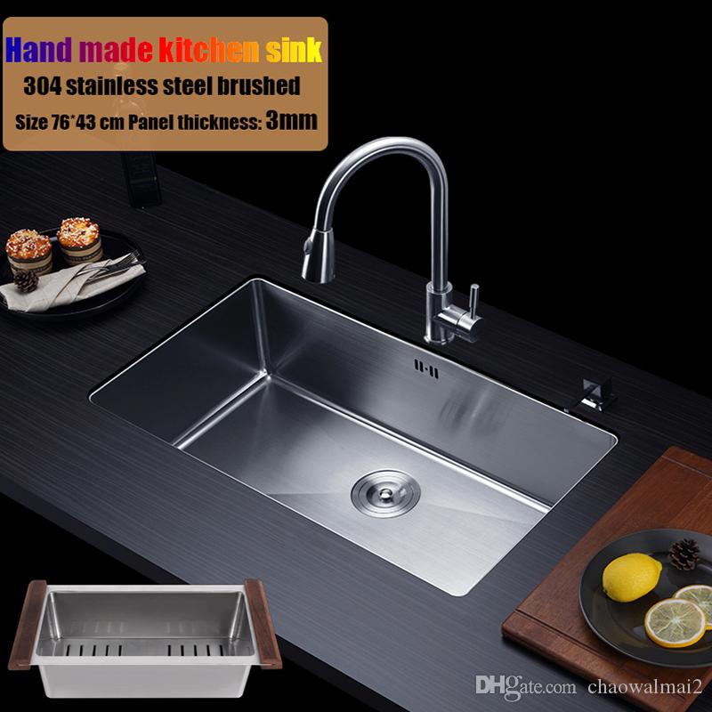 2021 76 43cm 304 Stainless Steel Kitchen Sink Hand Made Single Bowl Water Tank Large Size Brushed Thick 3mm 1 2mm With Faucet Choose From Chaowalmai2 385 32 Dhgate Com