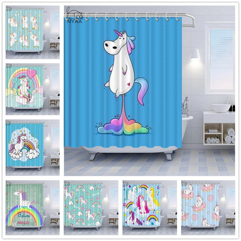 Cartoon Unicorn Shower Curtains Children's Favorite Donuts Bath Curtain Decoration Cute Light Blue Home Bathroom Bath Curtain Set Waterproof