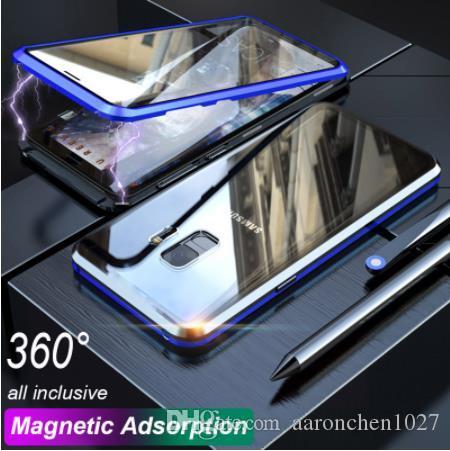 360 Manyetik Adsorpsiyon Telefon Kılıfı Için Samsung s10 artı s10e çift Temperli Cam arka Kapak Kılıf için Galaxy S8 S9 Artı Not 8 9 A50 A60