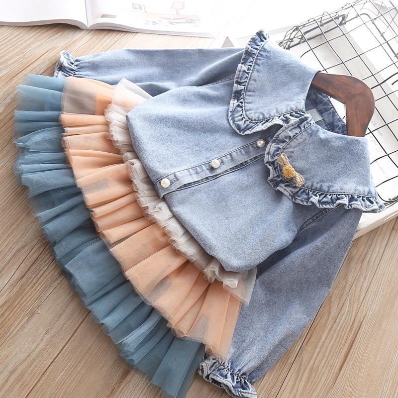 New Real Girl Baby Dress Vestido Infantil Tide Fan Tong Super Brim Washed Shirt Cake Veil Two Slip Of The Girls Q190518