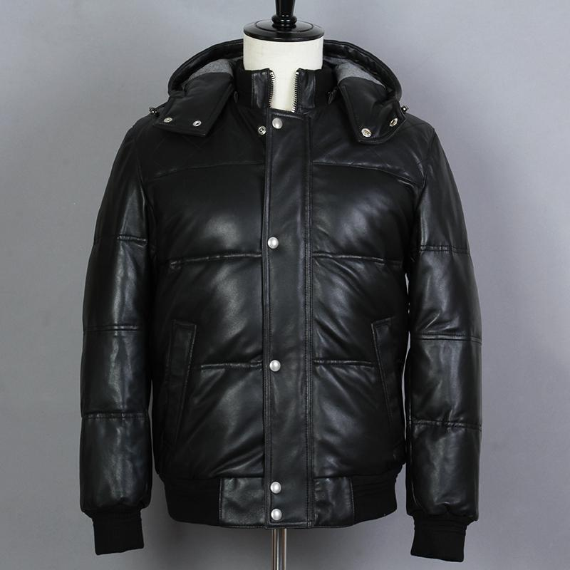 2018 Men's Genuine Leather Down Jacket Sheepskin Thick Short Hooded Winter Coat Casual Real Leather Down Coat men