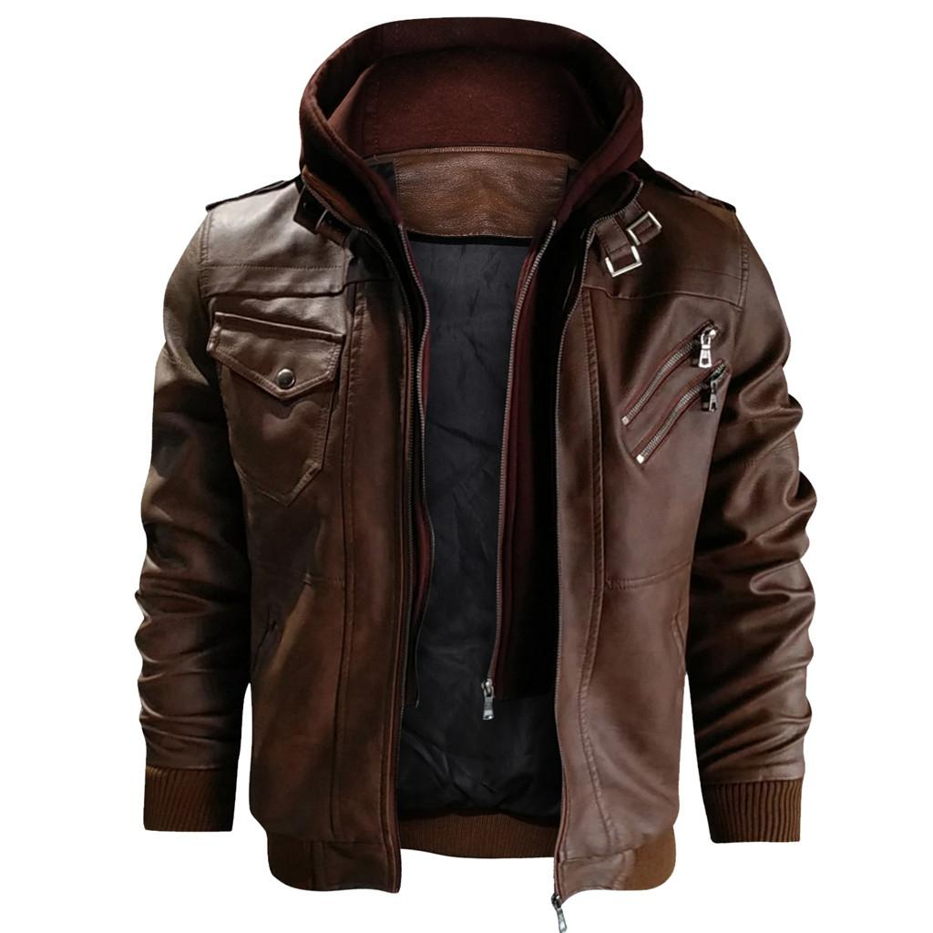 Vestes en cuir pour hommes Automne Nouveau Casual Motorcycle PU Veste en cuir Coats taille européenne Vestes Drop Shipping JAYCOSIN Vente Hot