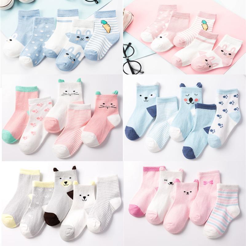 5 Çifti / Lot Çocuklar Yumuşak Pamuk Çorap Erkek, Kız, Bebek, Sevimli Karikatür Isınma Çizgili Noktalar Moda Spor Çorap İlkbahar Yaz Çocuk Hediye