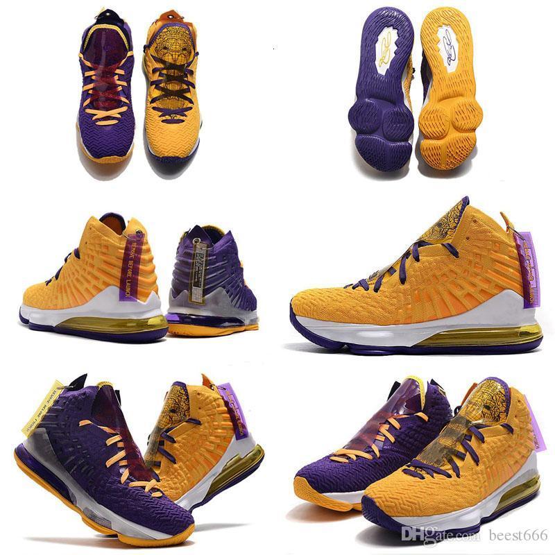 Alta qualità Ciò che il James 17 17s Scarpe XVII pallacanestro del Mens VIOLA ORO Campionato Lakers Re partire uguaglianza Sport Sneakers Size7-12