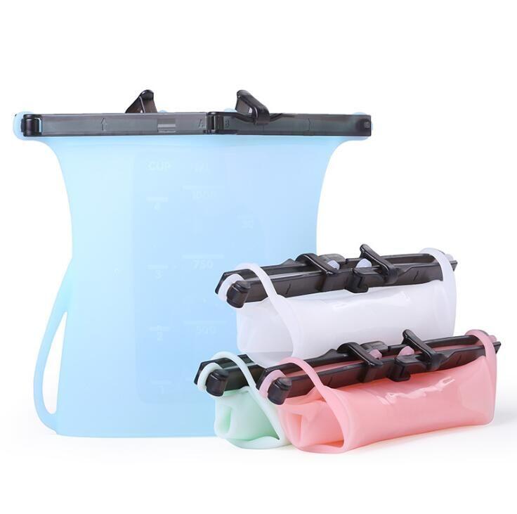 Silikon Gıda Taze Çanta 18 * 20cm Yeniden kullanılabilir Mühürlü Saklama Poşetleri Buzdolabı Meyve eti Süt Saklama Kapları Kilitli Poşet OOA6934-6
