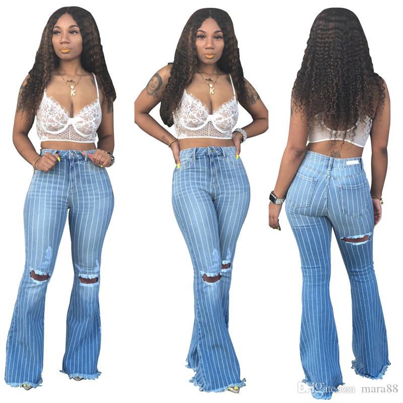 Kadın artı boyutu kot çizgili baskı denim pantolon yırtık yüksek bel cep sıska alevlendi pantolon tasarımcı yaz güz giyim sıc ...