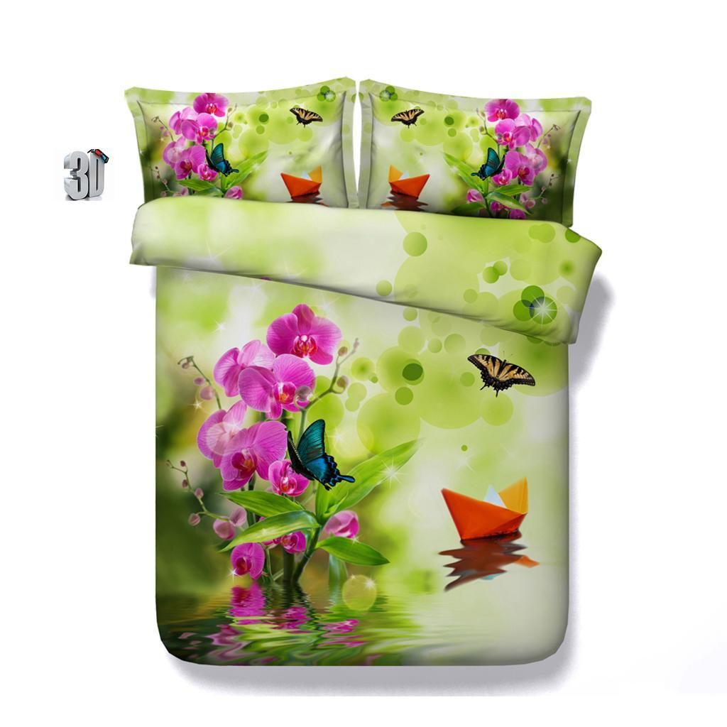 150x200cm 3D floral rose Housse de couette ensembles de literie queen-size Couvre-lits Couvertures de vacances couette Linge de lit taies d'oreiller bateau papillon vert