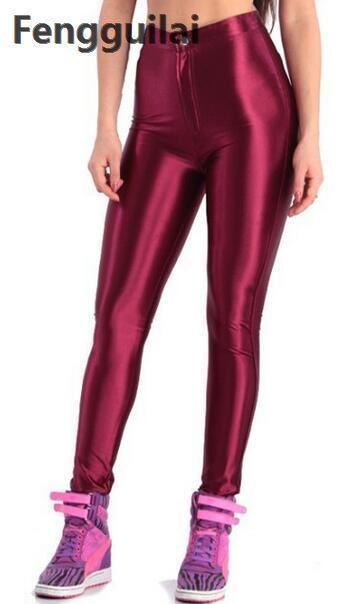2018 American Style Pencil Pants Shiny Disco Pants High Waist Women 's Trousers Leggings Pants Y190430