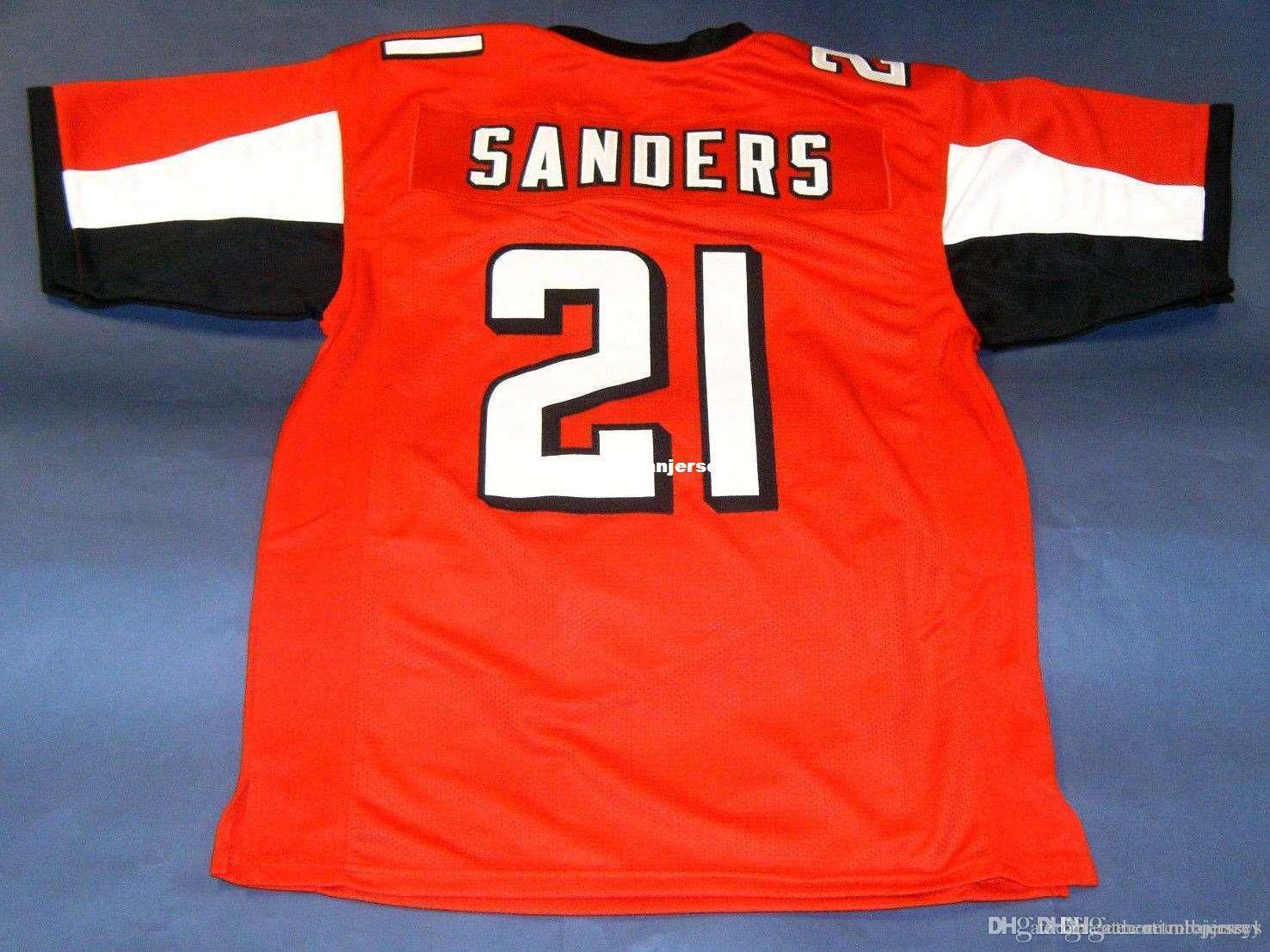 Cheap retro # 21 Deion Sanders CUSTOM MITCHELL NESS Jersey Prime Time Mens vermelho costura superior S-5XL, 6XL camisas de futebol executando