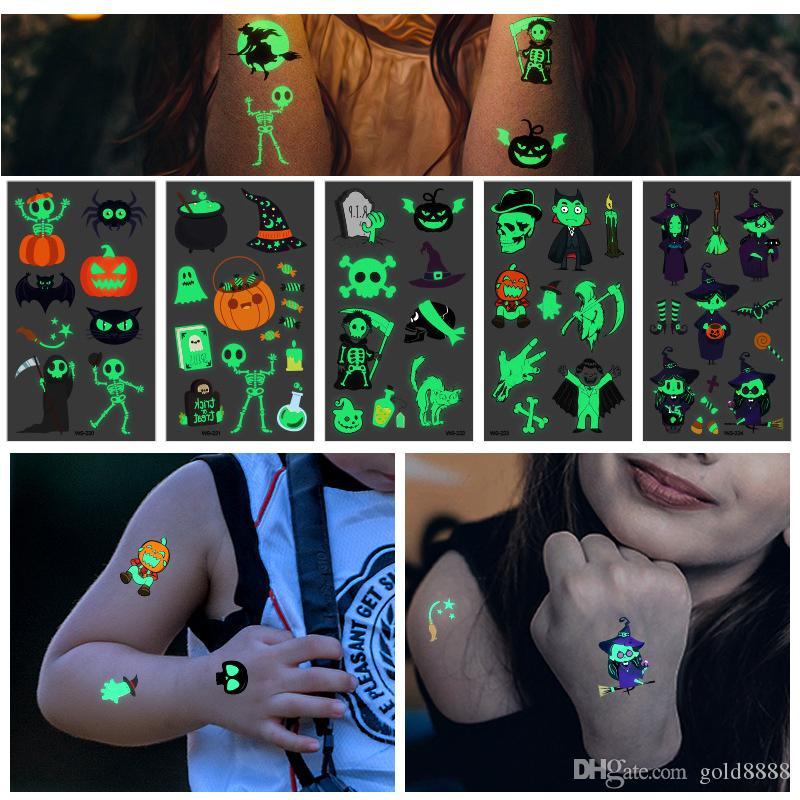 Halloween Luminous Tattoo Ghost Kids 210*150mm Fake Tattoo