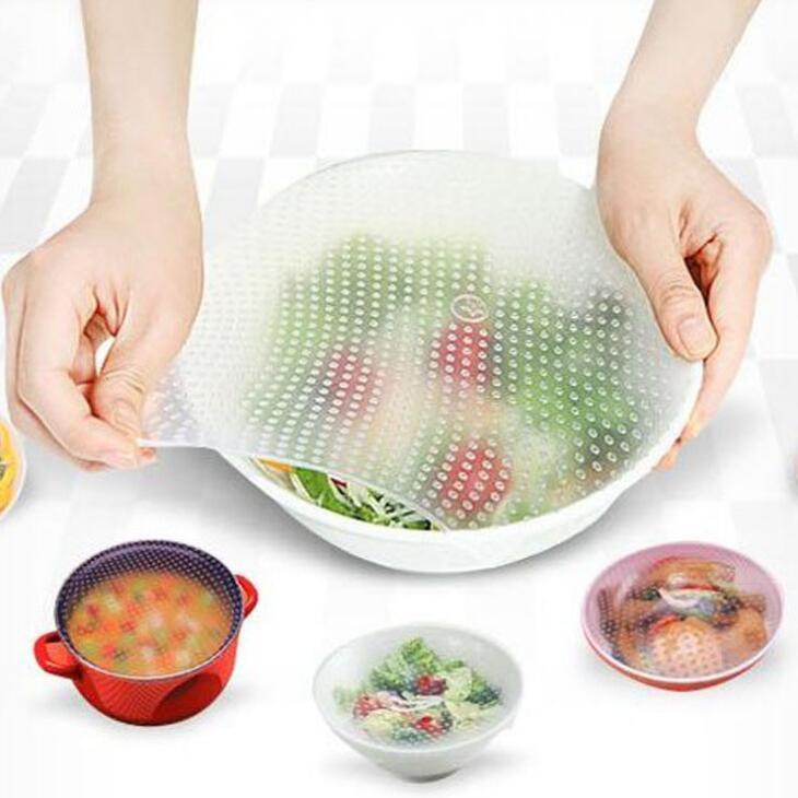 4pcs / set reutilizável Silicone Food Wraps Silicone estiramento Tampas fresco Silicone Cling Seal Film tampa Cozinha Ferramenta LX1754
